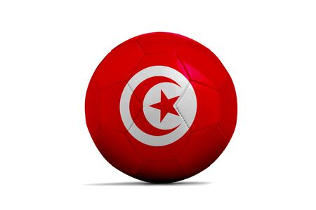 Soccer ball isolated with team flag, Russia 2018. Tunisia