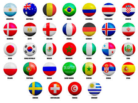 Soccer balls with country team flags, 2018. isolated on white Stock Photo