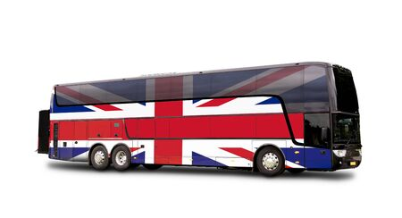 Black Travel  bus with the English flag on side isolated on white. Clipping path