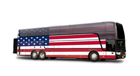 Black Travel bus with the american flag on side isolated on white. Standard-Bild
