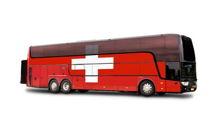 Black Travel  bus with the Swiss flag on side isolated on white. Clipping path