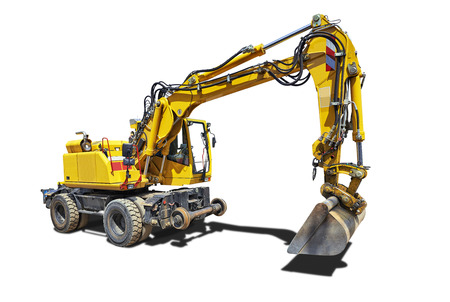 Yellow Bulldozer with shadow isolated on white background