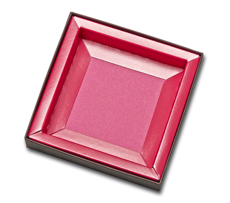 Open and empty pink box isolated on white with clipping path Standard-Bild