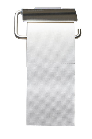 White toilet roll paper holder isolated on white background with clipping path Standard-Bild