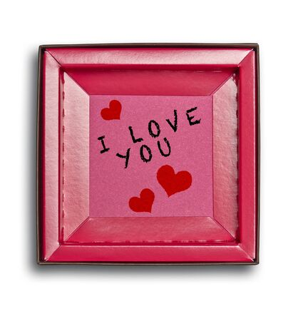 I love you message in Open and empty pink box isolated on white with clipping path Standard-Bild
