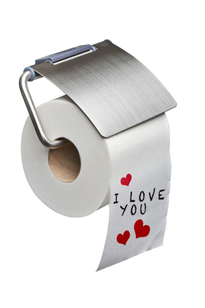 I love you Message on White toilet roll paper isolated on white background with clipping path