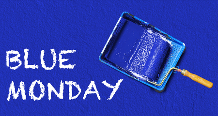 Painting tools and text on blue Standard-Bild
