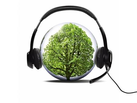 Open audio headset listening nature in globe on white background Standard-Bild