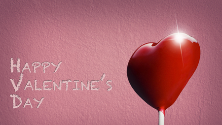Heart-shaped lollipop for the Valentines day