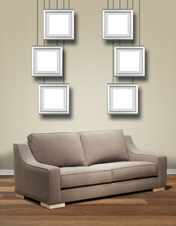 Modern Interior With Sofa And Six Hanging Alu Frame. Souvenir In Frame At  The Wall