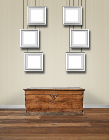 Modern Interior With Old Wooden Chest And Aluminium Frames At