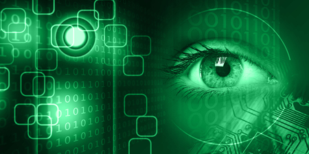 Macro view of a young women eye on technology background