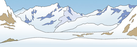 Illustration of a sunny day in snowy mountains in panoramic format