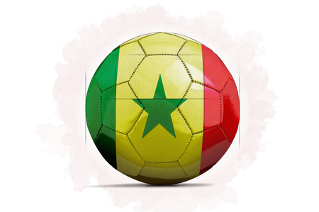 digital artwork sketch of a soccer ball with team flag senegal