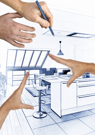 Digital Blue print Artwork of a Modern open kitchen in renovated house with Hands framing house Stock fotó