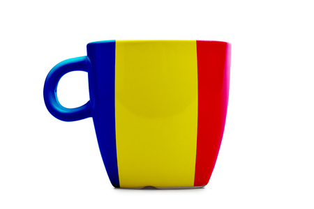 Elegant tea or cafe flagged mug isolated. Romania flag