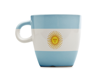 Elegant tea or cafe flagged mug isolated. Argentina flag