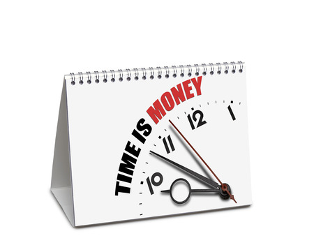 Time is money desk calendar isolated on white with clipping path. Path for the first sheet 版權商用圖片