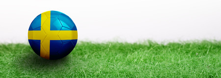 Panoramic Green grass isolated on white background and flagged soccer ball. Sweden Stock Photo
