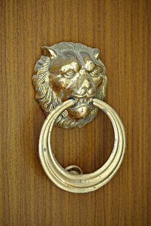 Lion head and ring knockdoor on wooden door