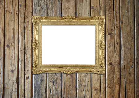 Old antique gold frame with back to school text on textured wooden wall Banque d'images