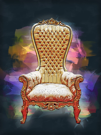 Digital painting of a Elegant golden royalty throne. View from Front