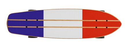 Wooden skate board with French flag isolated on a white background with clipping path Stockfoto
