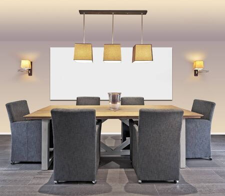 Elegant and luxury dining table with frame on wall. Path for the frame