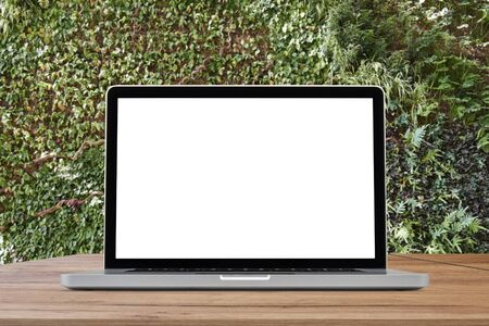 Laptop on wooden desk against ecological foliage wall Standard-Bild - 138449311