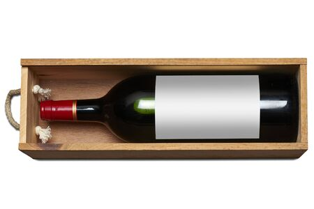 Wine bottle with blank label in Box and isolated