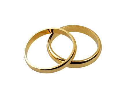 Old wedding rings together isolated on white
