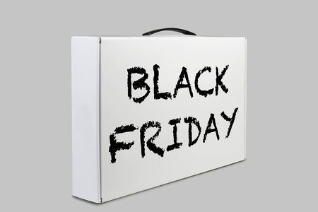 Carton Package Box With Handle for Black friday. Briefcase, Case, Folder, Portfolio Case Stock fotó
