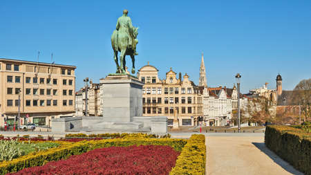 Brussels, Belgium - April 05, 2020: The Mont des arts at Brussels without any people during the confinement period.