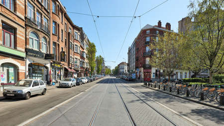 Brussels, Belgium - April 07, 2020: The Rogier avenue at Brussels without any people during the confinement period. Editorial