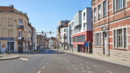 Brussels, Belgium - April 07, 2020: The Law causeway of Leuven at Brussels without any people and car during the confinement period.