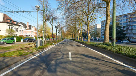 Brussels, Belgium - April 07, 2020: The Lambermont Boulevard at Brussels without any people and car during the confinement period. Editorial