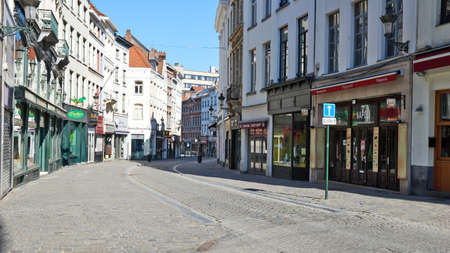 Brussels, Belgium - April 05, 2020: The Grammarket street at Brussels without any people and during the confinement period. Editorial