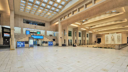 Brussels, Belgium - April 05, 2020: Empty Interior of the main lobby of Brussels Central Train Station during the confinement period.