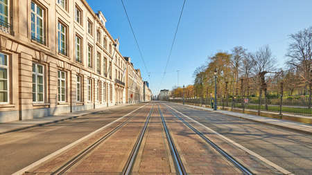 Brussels, Belgium - April 05, 2020: The Royale street at Brussels without any people during the confinement period. Editorial