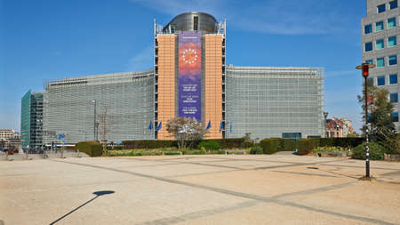 Brussels, Belgium - April 07, 2020: The berlaymont building from Shuman square at Brussels without any people and car during the confinement period. Editorial