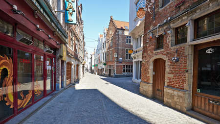 Brussels, Belgium - April 05, 2020: The Butchers street at Brussels without any people and during the confinement period. Editorial