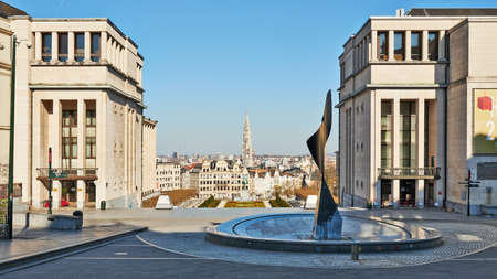 Brussels, Belgium - April 05, 2020: The Royal Square at Brussels without any people during the confinement period.