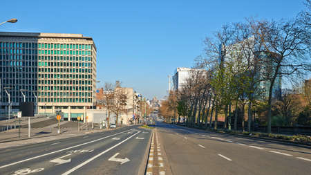 Brussels, Belgium - April 05, 2020: The Botanique Blvd at Brussels without any people and car during the confinement period.