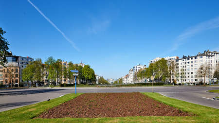 Brussels, Belgium - April 07, 2020: The Montgomery square at Brussels without any people and car during the confinement period.