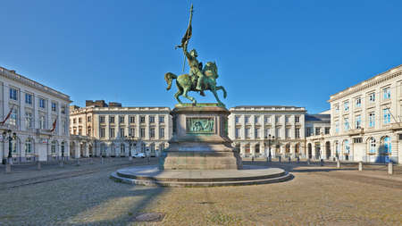 Brussels, Belgium - April 05, 2020: The Royale square with the Godefroid de Bouillon statue at Brussels without any people during the confinement period.
