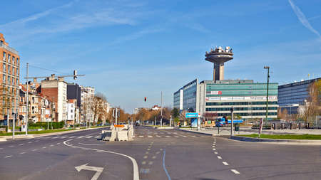 Brussels, Belgium - April 07, 2020: The Reyers Boulevard at Brussels without any people during the confinement period. Editorial