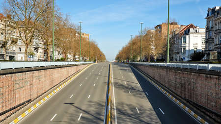 Brussels, Belgium - April 07, 2020: The Brand Witlock Boulevard at Brussels without any people and car during the confinement period.