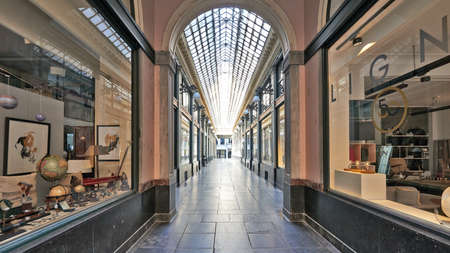 Brussels, Belgium - April 05, 2020: The Royale gallery Saint Hubert at Brussels without any people during the confinement period. Editorial