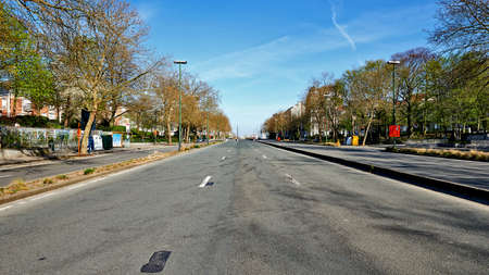 Brussels, Belgium - April 07, 2020: The Brand Witlock Boulevard and Vergote square at Brussels without any people and car during the confinement period. Editorial