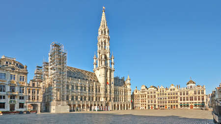 Brussels, Belgium - April 05, 2020: The main square from Brussels under renovation and without any people during the confinement period.Square is World Heritage Site by UNESCO.